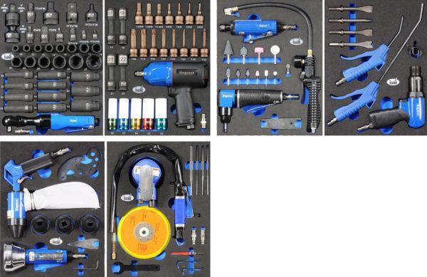Työkaluvaunu paineilmatyökaluilla 106 osaa