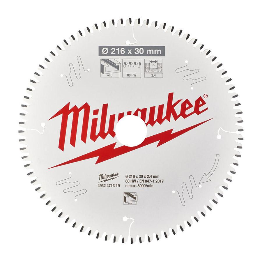 Milwaukee CSB MS Alu216 x 30 x 2.4 x 80TF neg pyörösahanterä