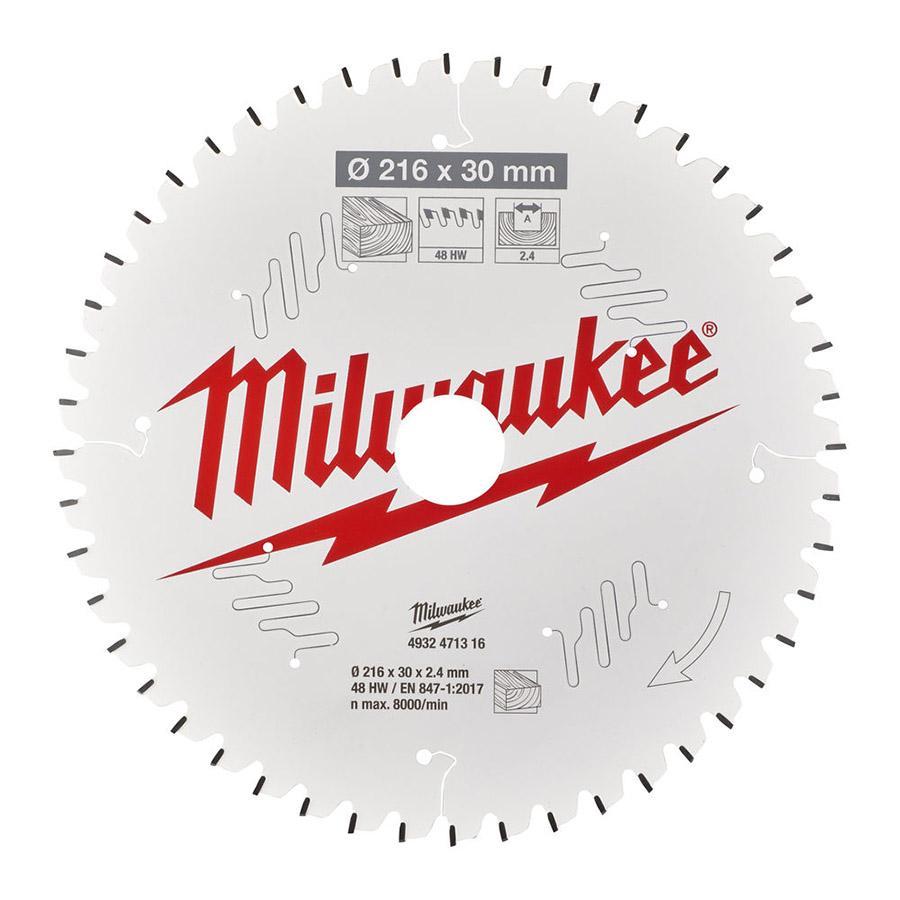 Milwaukee pyörösahanterä CSB MS W 216 x 30 x 2,4 x 48ATB neg